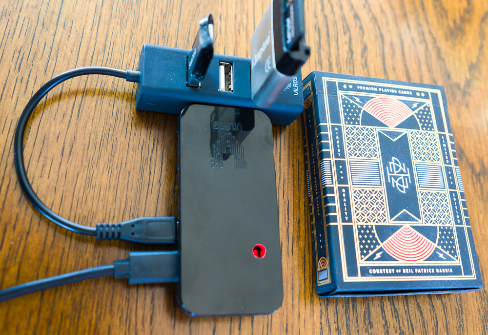 backupX - the Raspberry Pi based solution for backing up travel photography on the go -  it's about the size of a pack of cards.
